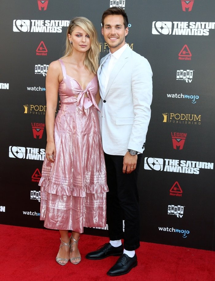 Melissa Benoist and her husband Chris Wood attend the 45th Annual Saturn Awards