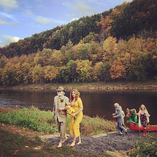 Amber Tamblyn got married in a bright-hued, yellow dress