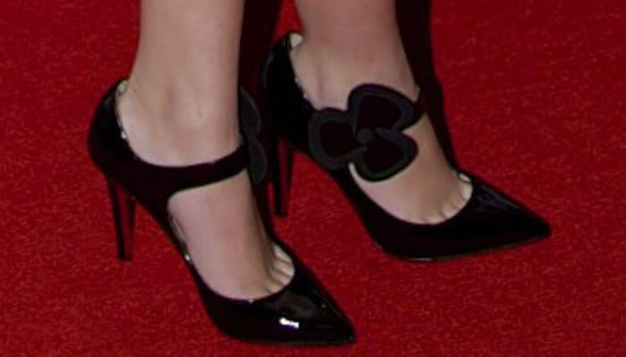 Cher Lloyd wearing Mary Jane shoes from Christian Louboutin