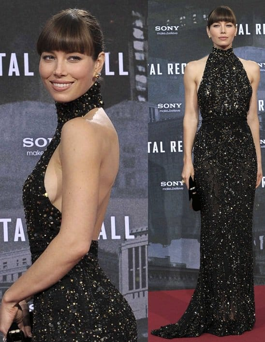 Jessica Biel attends the German premiere of 'Total Recall' at Sony Center on August 13, 2012, in Berlin, Germany