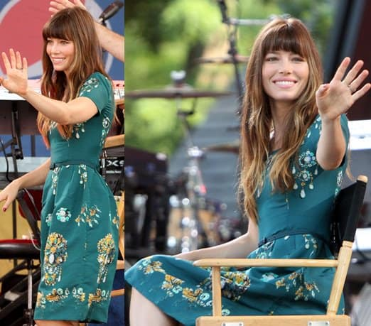 Jessica Biel appearing on 'Good Morning America' in Central Park to promote her new movie 'Total Recall' on August 3, 2012