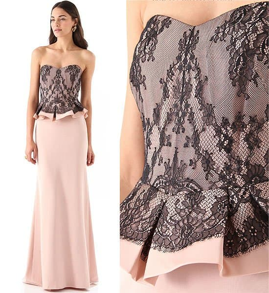 Black lace over nude pink wedding dress