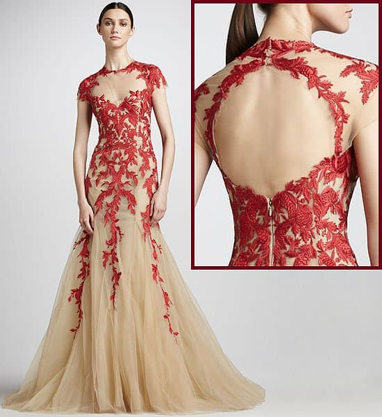 Red over nude wedding dress