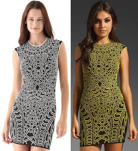 RVN geo textured knit mini dress in black/white and apple green/black