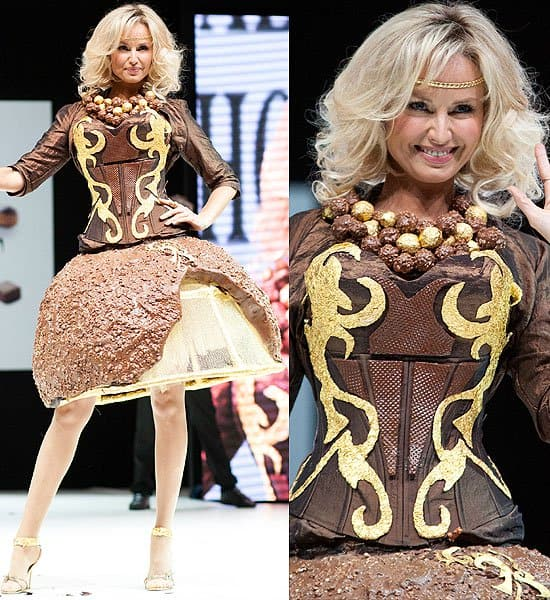 Crispy chocolate ball skirt and necklace with a chocolate wafer bodice