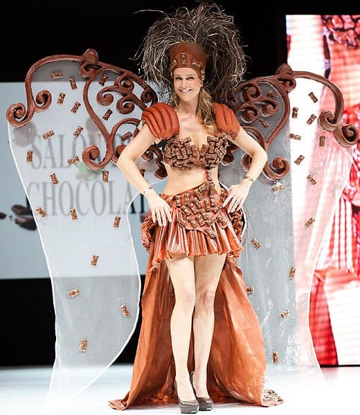 Chocolate bar bra top, skirt, and wings