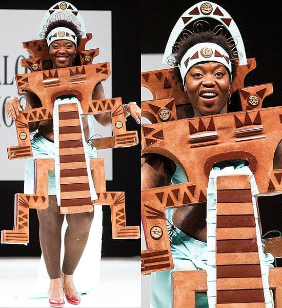 Chocolate bars and triangles on a tribal-inspired dress
