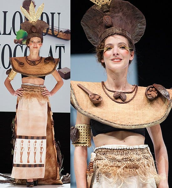 Cocoa bean headdress and shoulder plate