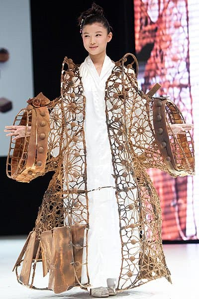 Korean hanbok-inspired chocolate wire dress