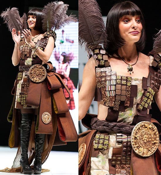 Chocolate squares loop-layered dress