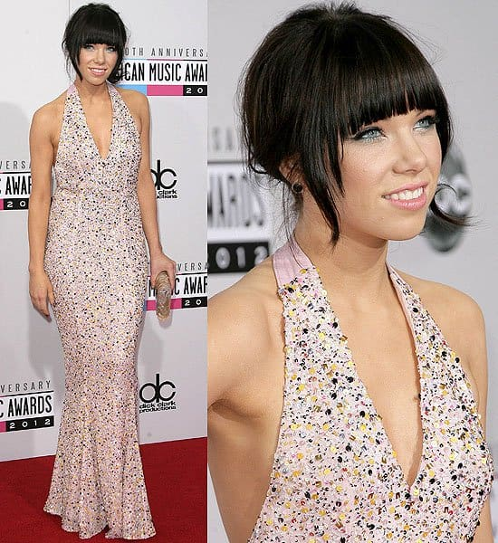 Carly Rae Jepsen in a Gomez-Gracia dress at the 2012 American Music Awards held at Nokia Theatre L.A. Live in Los Angeles on November 18, 2012