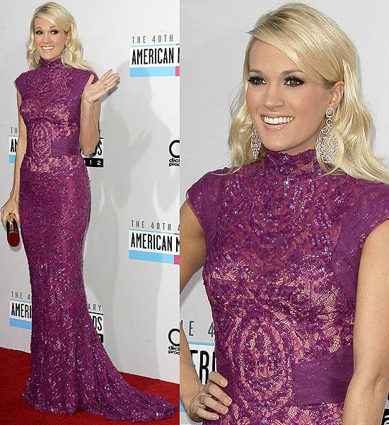 Carrie Underwood in a purple sequin cap-sleeve Abed Mahfouzgown at the 2012 American Music Awards held at Nokia Theatre L.A. Live in Los Angeles on November 18, 2012