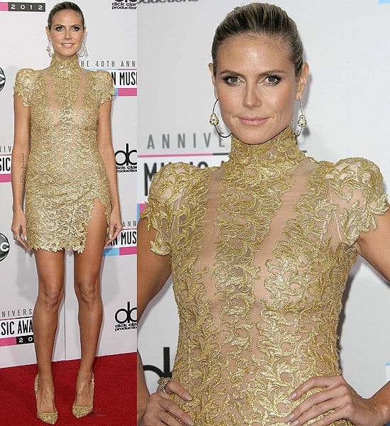 e736dd29 Heidi Klum in a gold lace mini dress from Alexandre Vauthier's Fall 2012  Couture collection