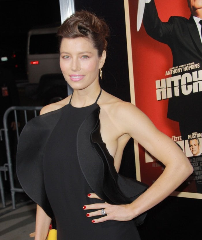 Jessica Biel in a black dress from the Gucci Spring 2013 collection
