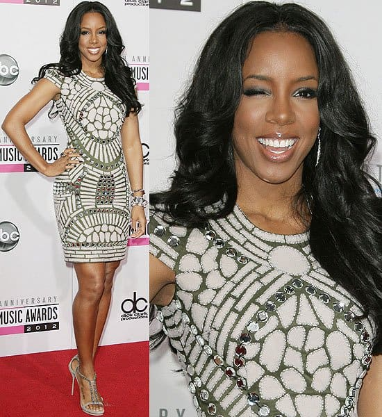 Kelly Rowland in a Naeem Khan Fall 2012 dress and taupe strappy Gucci sandals