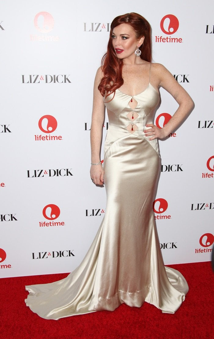 Actress Lindsay Lohan attends the premiere of 'Liz & Dick' at Beverly Hills Hotel on November 20, 2012, in Beverly Hills, California