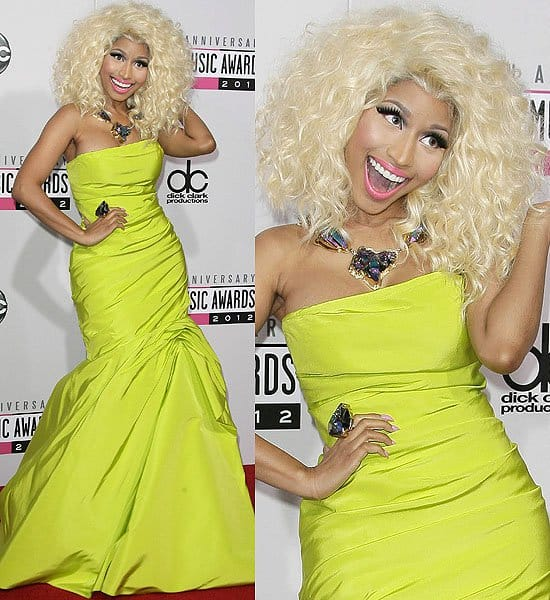 Nicki Minaj in a lime-green draped trumpet dress from Monique Lhuillier at the 2012 American Music Awards