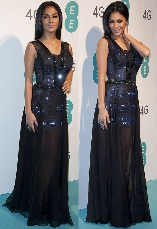 Nicole Scherzinger's Twitter dress with over 3,000 Swarovski crystals and 2,000 LED lights