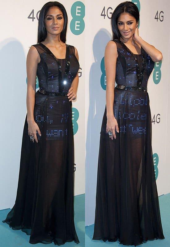 Nicole Scherzinger's Twitter dresswith over 3,000 Swarovski crystals and 2,000 LED lights