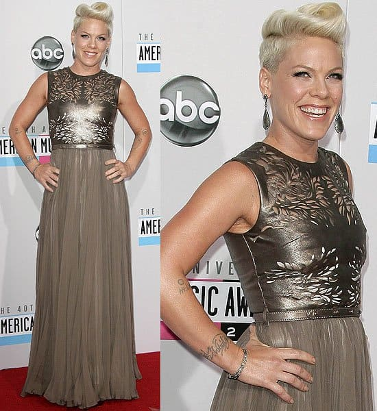 Pink in a bronze Catherine Deane gown at the 2012 American Music Awards