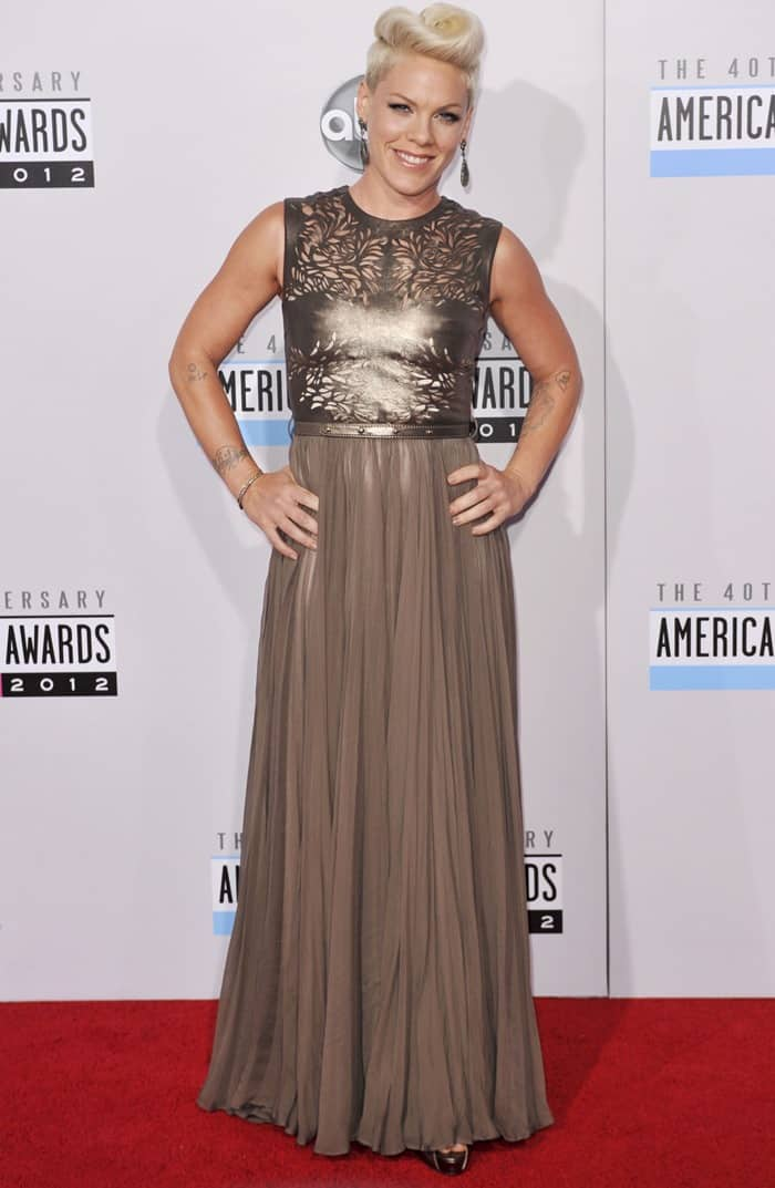 Pink attends the 2012 American Music Awards held at Nokia Theatre L.A. Live in Los Angeles, California on November 18, 2012