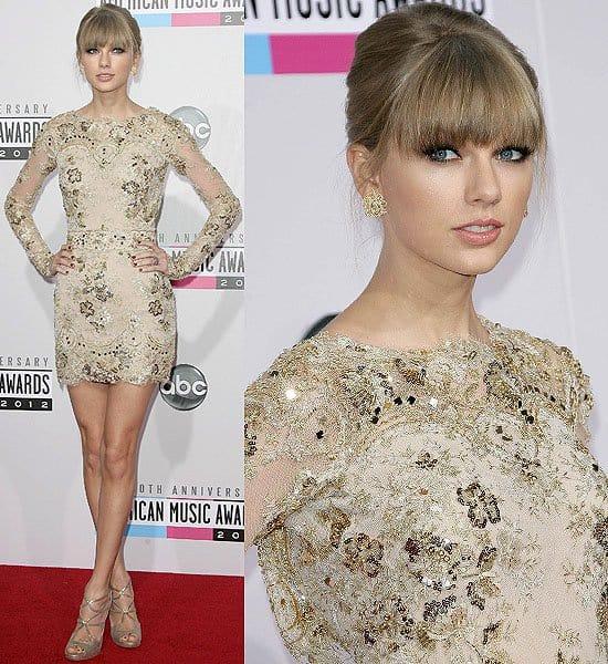 Taylor Swift in a nude-toned metallic mini dress from Zuhair Muradat the 2012 American Music Awards