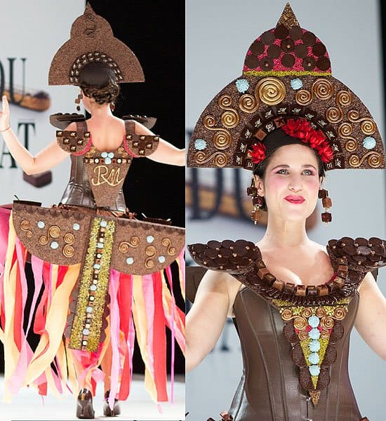 Headpiece, shoulder plates and skirt made of chocolate swirls, squares, and circles