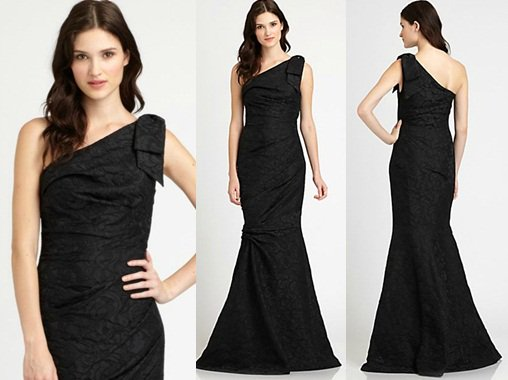 David Meister Asymmetrical Gown