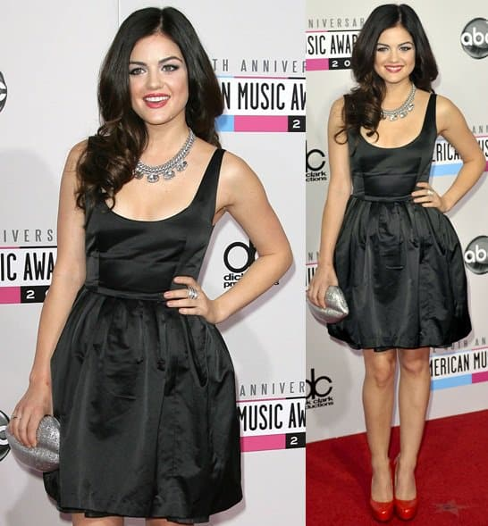 Actress Lucy Hale attends the 40th Anniversary American Music Awards held at Nokia Theatre L.A. Live on November 18, 2012, in Los Angeles, California