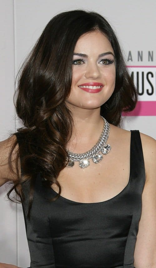 Lucy Hale'sgorgeous fit n' flare satin LBD
