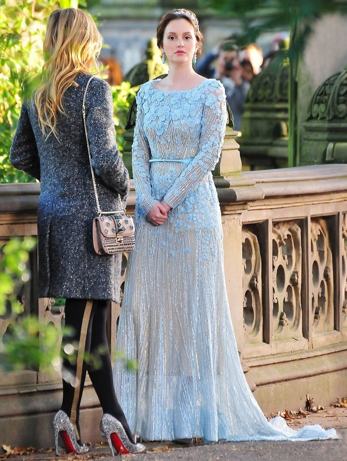 Blair Cornelia Bass (née Waldorf), portrayed by Leighton Meester, and Serena Celia van der Woodsen, portrayed by Blake Lively, in the season finale of Gossip Girl