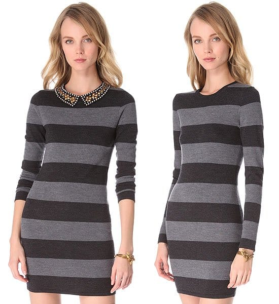 An optional sequined collar adds unexpected shine to a striped sweater dress, creating a unique mix of posh and prep.