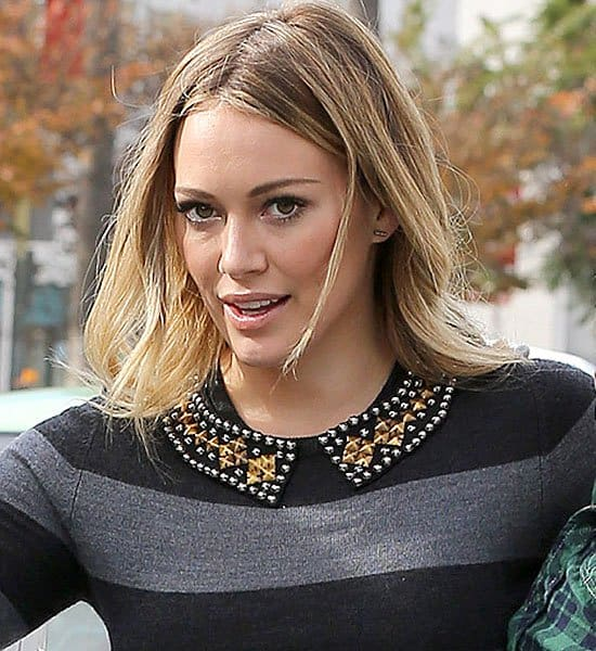 Hilary Duff collared sweater dress