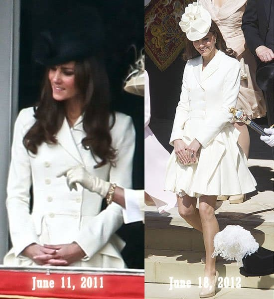 Catherine, Duchess of Cambridge a.k.a Kate Middleton at the Trooping The Colour to celebrate the Queen's Official birthday held at the Mall in London, England on June 11, 2011; At the annual Garter Ceremony at Windsor Castle in Berkshire, England on June 18, 2012