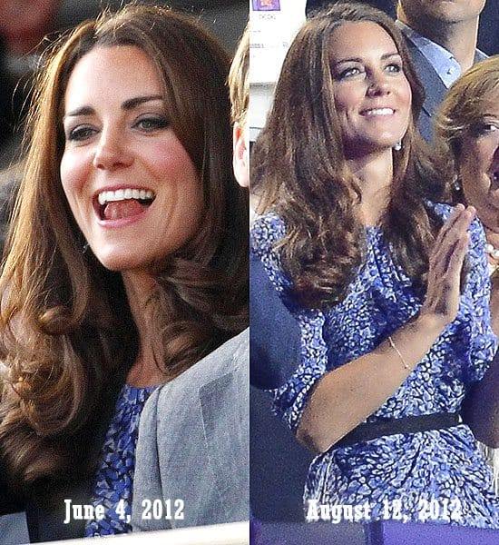 Kate Middleton or Catherine, Duchess of Cambridge at the The Queen's Diamond Jubilee Concert in London, England on June 4, 2012; At the London 2012 Olympic Games Closing Ceremony in London, England on August 12, 2012