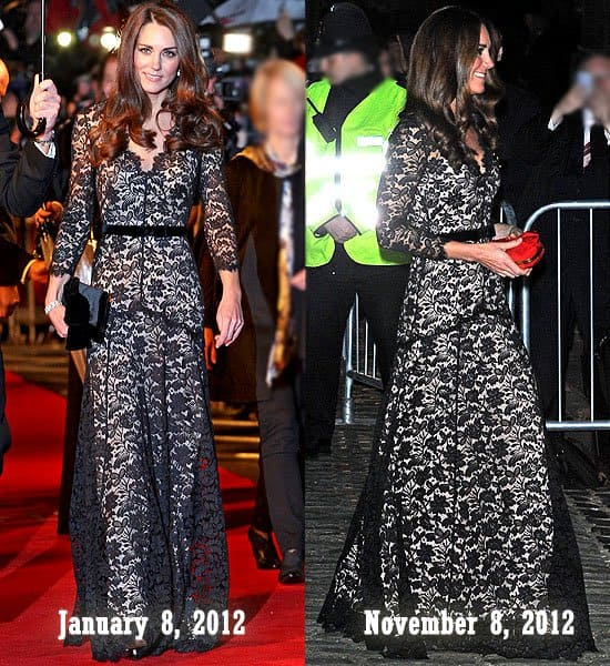 Kate Middleton or Catherine, Duchess of Cambridge at the 'War Horse' UK premiere in London, England on January 8, 2012; At the University of St. Andrews' 600th Anniversary Campaign at Temple Hall in London, England on November 8, 2012