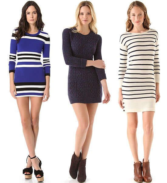 3 striped and cable knit sweater dresses
