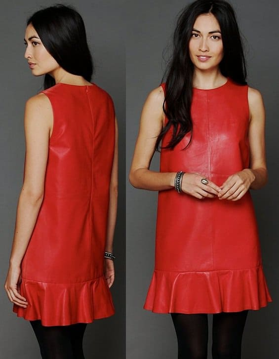 ANN.C Dropwaist Leather Shift in Red