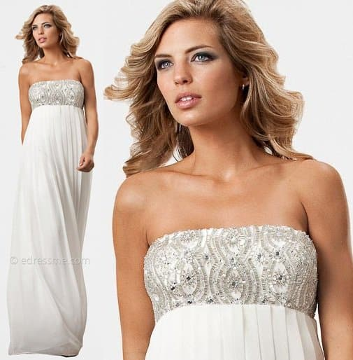 js collection beaded strapless evening gown