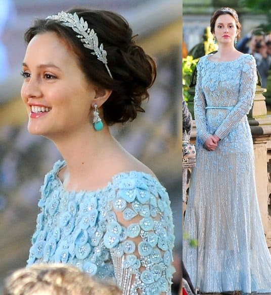 Leighton Meester (a.k.a. Blair Waldorf), wears an Elie Saab gown while shooting scenes for the finale episode of 'Gossip Girl'