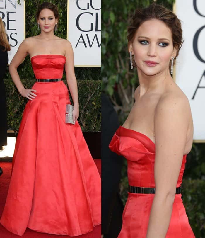 Jennifer Lawrence at the 70th Annual Golden Globe Awards held at the Beverly Hilton Hotel