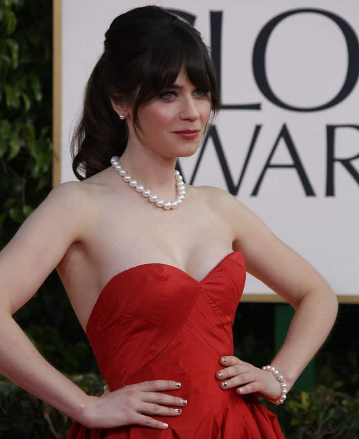 Zooey Deschanel at the 70th Annual Golden Globe Awards held at the Beverly Hilton Hotel