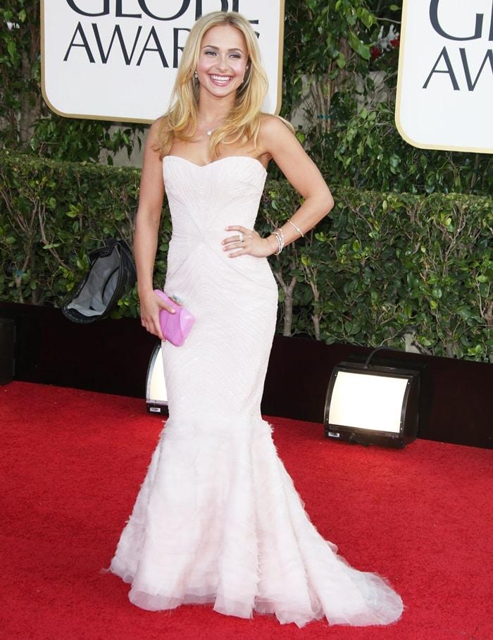 Golden Globe nominee Hayden Panettiere wears her hair down