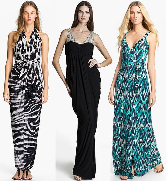 Tbags Los Angeles v-neck printed halter maxi dress, $188.00; JS Boutique embellished draped jersey gown, $178.00; Tart 'Camille' print wrap maxi dress, $176.00