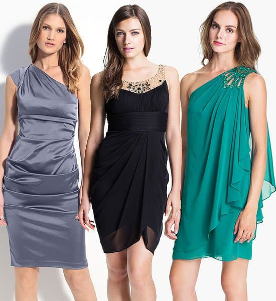 Xscape ruched satin one shoulder sheath dress, $155.00; Adrianna Papell jeweled yoke cocktail dress, $197.00; JS Boutique embellished one shoulder chiffon dress, $138.00