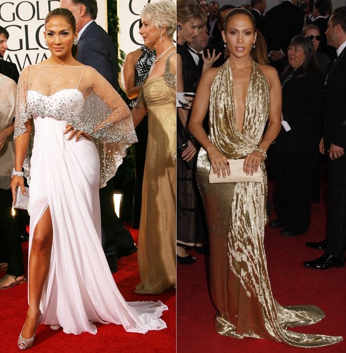 Jennifer Lopez at the Golden Globe Awards red carpet back in 2009 and 2011 respectively