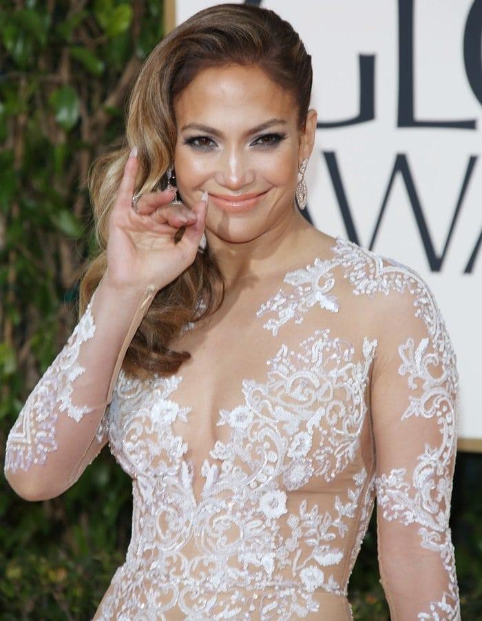 Jennifer Lopez's super sheer illusion lace dress