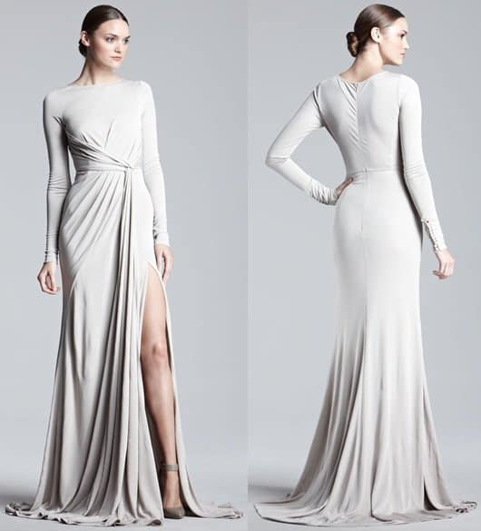 Elie Saab Long Sleeve Jersey Gown