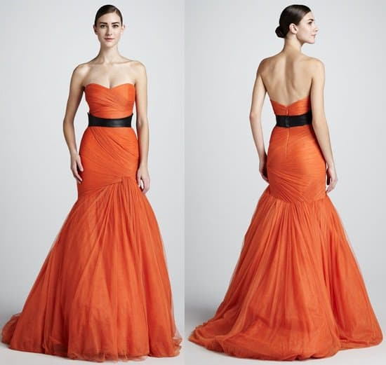 monique lhuiller strapless gown with leather belt-horz