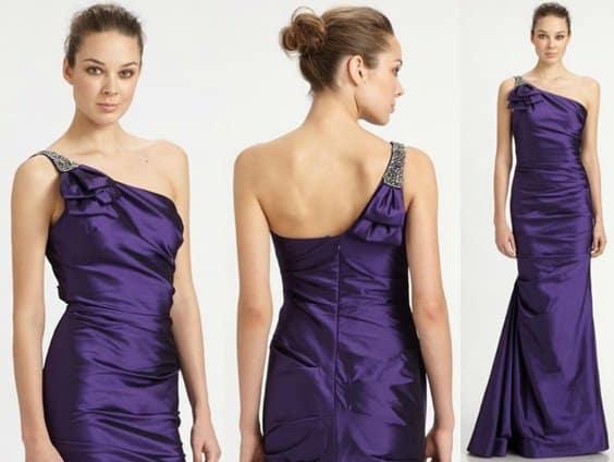 Teri Jon Asymmetrical Taffeta Gown